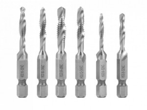 Taps with proper drill size for 8-32NC w/#29 drill, 10-24NC w/#25 drill, 10-32NC w#21 drill, 12- 24N
