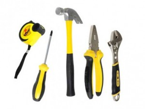 Basic hand tools, (slot, Philips, Robertson) screw drivers, hammer, Allen/hex head key set (fraction
